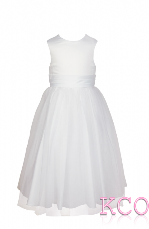 Style FJD922~ Pleat Sash Dress White/White